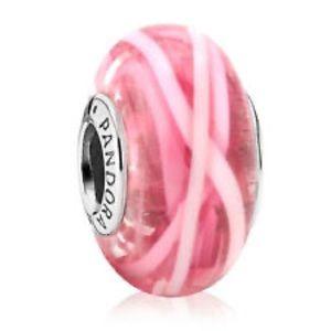 Pandora Rare Pink Floating Ribbon Silver Charm